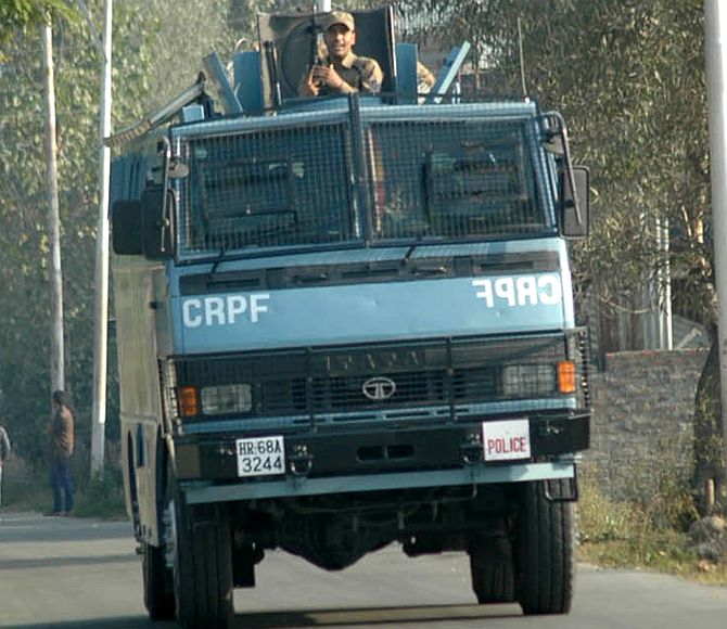 A CRPF armoured vehicle near the operation site