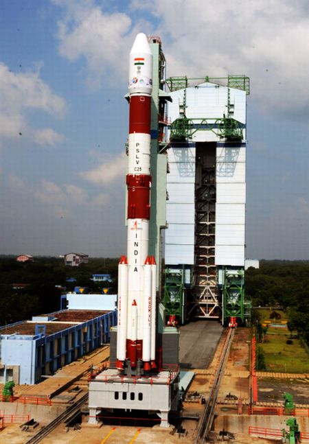 PSLV-C25 undergoing launch rehearsal with the Moible Service Tower retracted