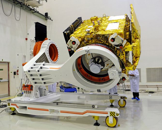 Mars Orbiter Mission spacecraft being prepared for a prelaunch test at Satish Dhawan Space Centre, Srihairkota