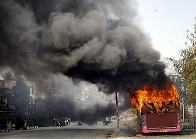 Protests have erupted in the coastal Andhra and Rayalaseema regions after Cabinet nod on Telangana