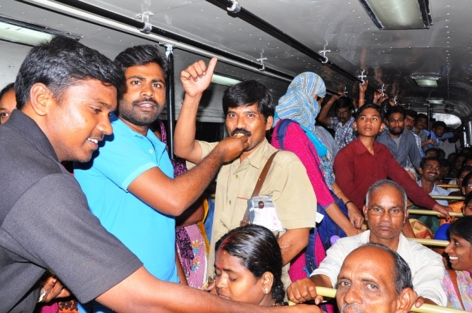 Pro-Telangana supporters celebrate after the Cabinet's decision on Thursday night