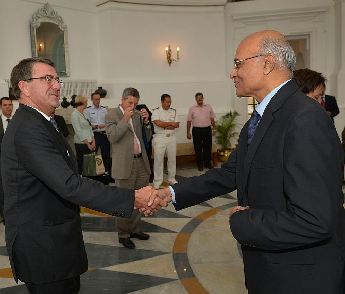 US Deputy Secretary of Defence Ashton B Carter is welcomed to Hyderabad House by National Security Adviser Shivshankar Menon in New Delhi, September 17. The Carter-Menon Initiative has pushed US-India defence cooperation to unprecedented levels