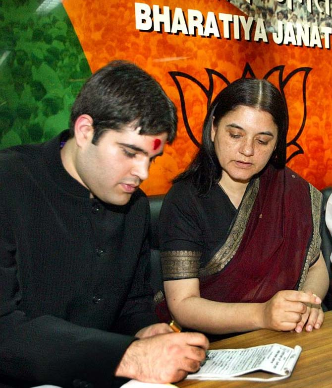 BJP leader Maneka Gandhi with son Varun