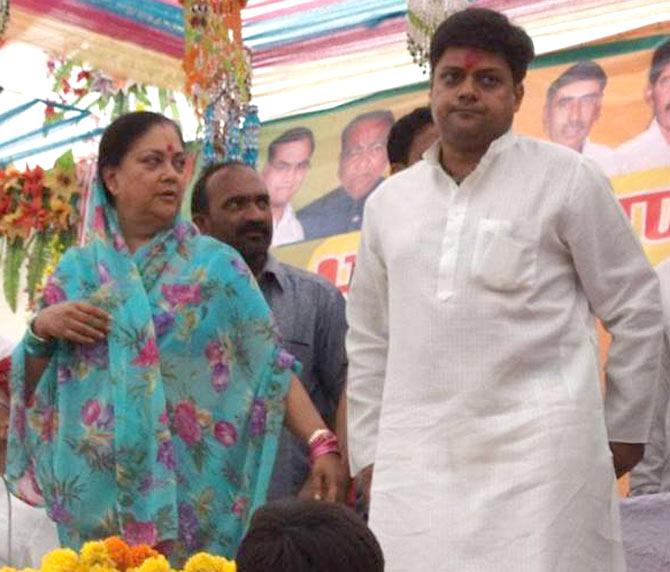 Vasundhara Raje and Dushyant Singh