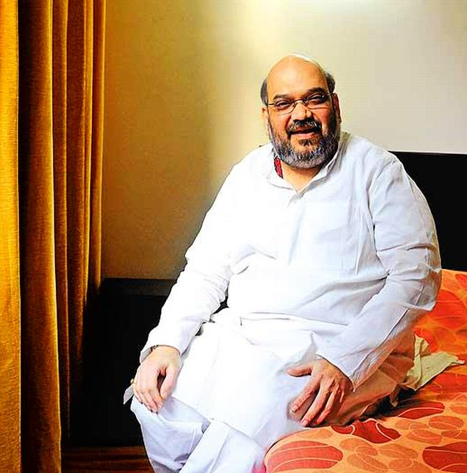 Amit Shah at his residence in Ahmedabad