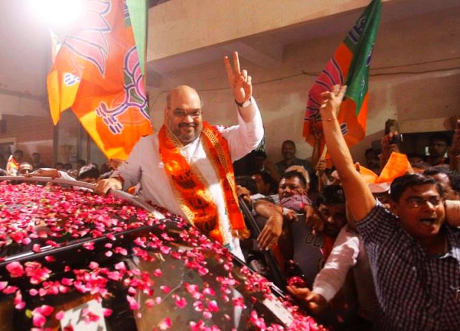 Celebration erupts after Amit Shah was appointed BJP general secretary