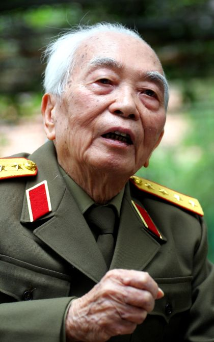 General Vo Nguyen Giap speaks during an interview in Hanoi in this 2004 photograph