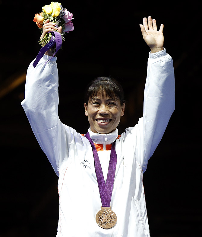 Mary Kom at the medal ceremony at the London Olympics 2012
