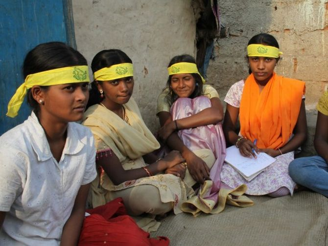 Members of Bhima Sangha, the union of working children facilitated by CWC