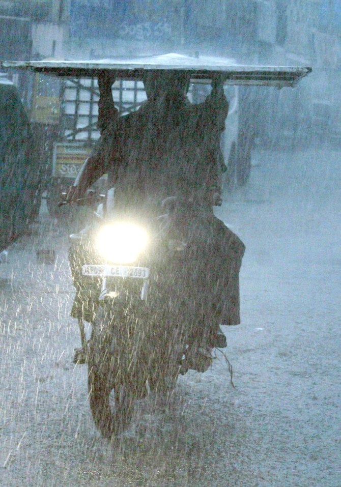 Heavy rain lashes Andhra Pradesh as Cyclone Phalin near the coast