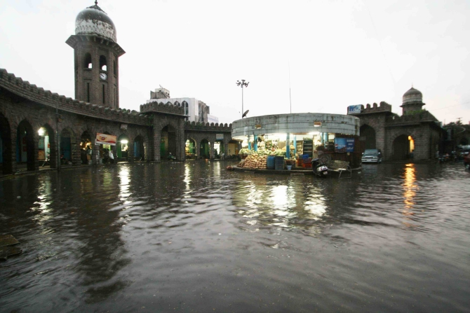 Parts of Hyderabad were water-logged after heavy rains on Wednesday night