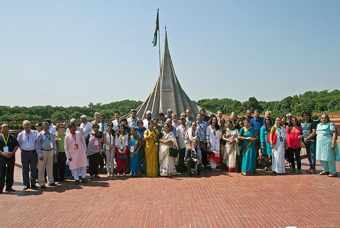 Award winners at the Bangladesh martyrs memorial in Dhaka