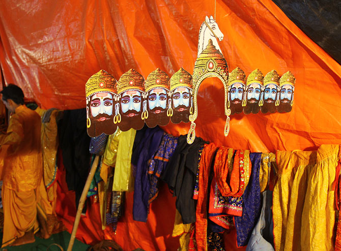 Raavan's elaborate headdress awaits its actor
