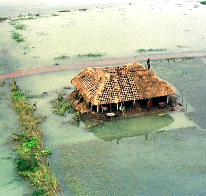 An aerial view of the cyclone-hit village of Ersama in Jagatsingpur district, many parts of which is still flooded, in Odisha in November 1999. The village was completely destroyed after the super cyclone hit the state on October 29