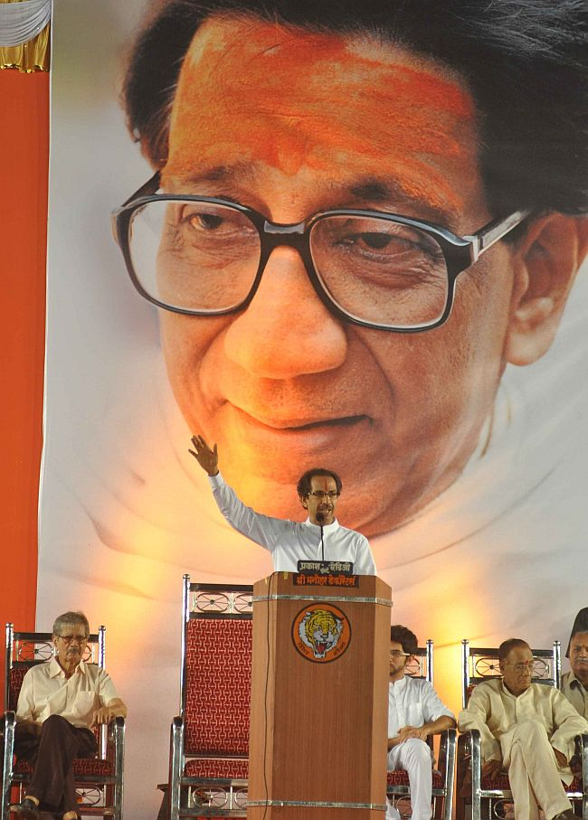 Uddhav Thackeray addresses Sena cadres at a rally in Shivaji Park in Mumbai