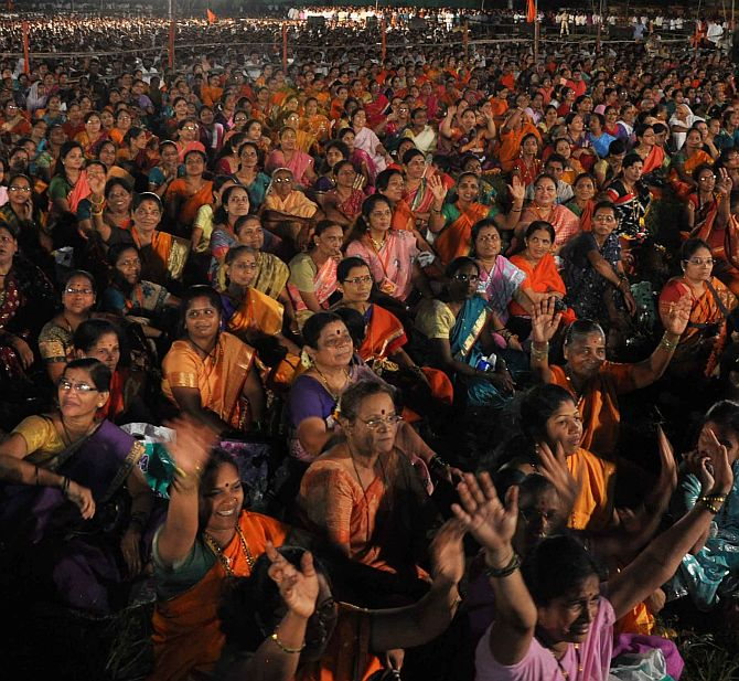 Members of Shiv Sena's women's wing attend the rally at Shivaji Park