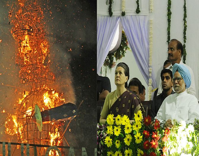 PHOTOS: PM, Sonia slay demons @ Ramlila Maidan