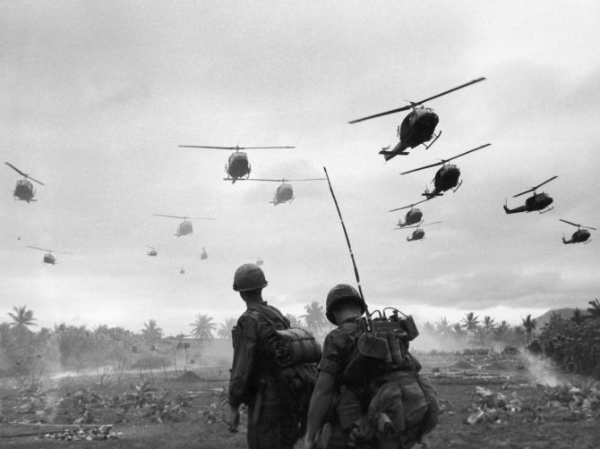 A 1967 photograph showing a wave of US combat helicopters during the Vietnam War.