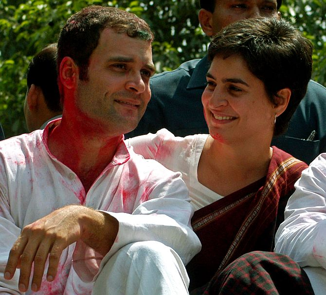 Priyanka Gandhi with Rahul Gandhi at a rally in Amethi