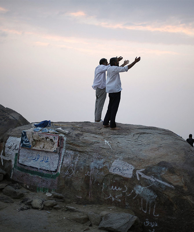 Muslim pilgrims pray atop Mount Thor in the holy city of Mecca ahead of the annual haj pilgrimage