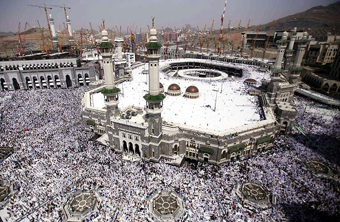 Muslim pilgrims attend Friday prayers at the Grand mosque in the holy city of Mecca ahead of the annual haj pilgrimage.