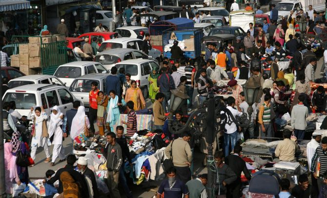 Streets filled with shoppers at a Srinagar market on Tuesday
