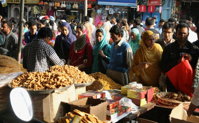 Heavy rush was also witnessed at the sweet shops and bakeries across Srinagar on Tuesday