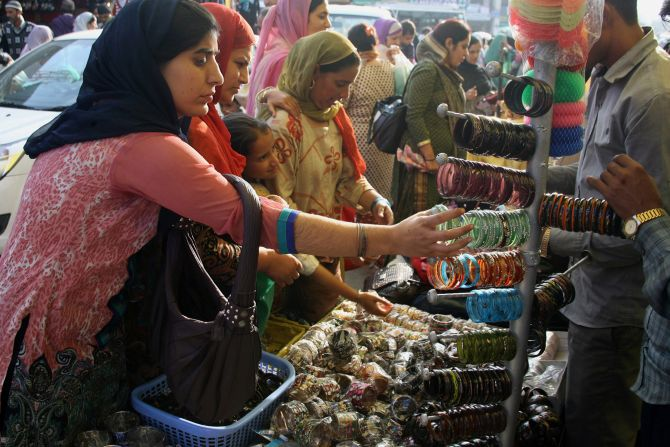 Women busy shopping at the markets of Srinagar on Tuesday
