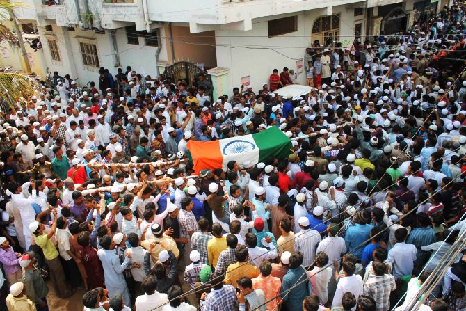 Thousands of mourners gathered at Khan'n final procession in Hyderabad's Old City on Thursday