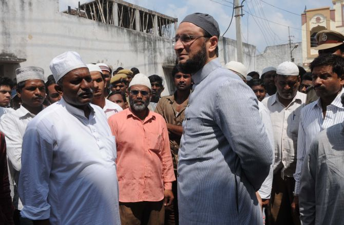 MIM leader Asaduddin Owaisi at the funeral procession