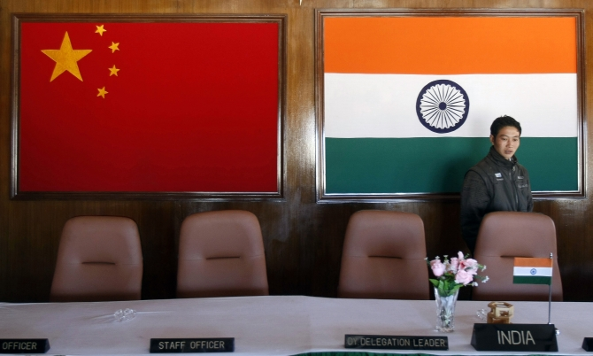 The conference room where Indian and Chinese military commanders meet, on the Indian side of the India-China border, at Bumla, Arunachal Pradesh.