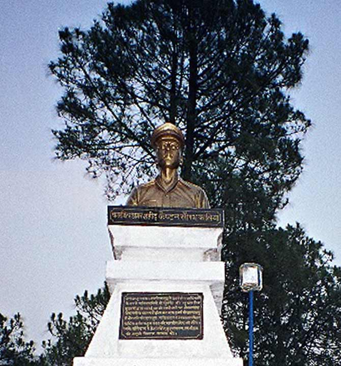 A bust of Captain Saurabh Kalia in his hometown of Palampur, Himachal Pradesh.