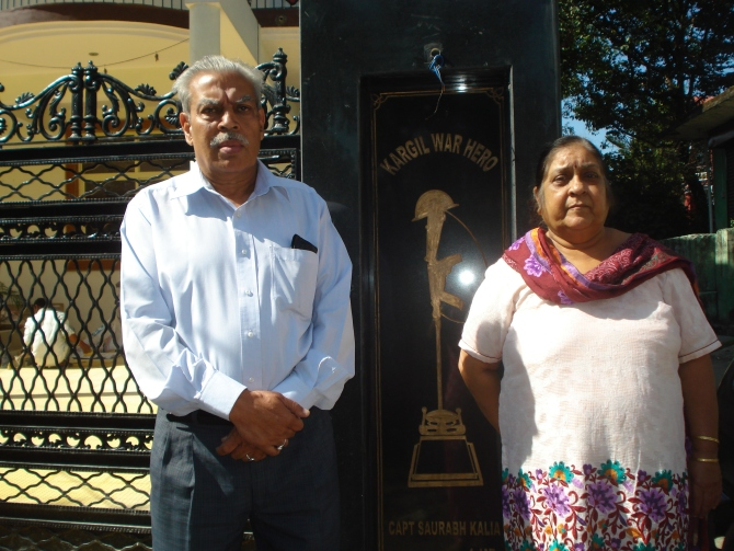 Dr N K Kalia with his wife Vijay outside their home dedicated to their martyred son, Captain Saurabh Kalia.