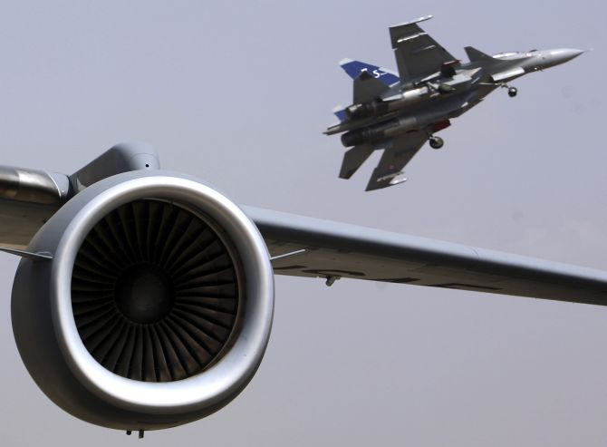 A Russian-made Indian Air Force Sukhoi-30 at the IAF's Yelahanka air station.