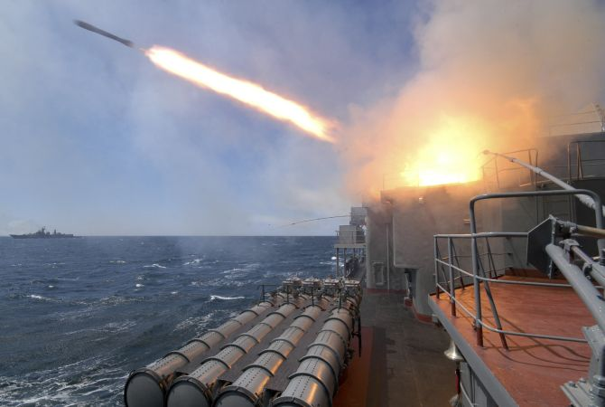 An anti-submarine missile blasts off from the Russian warship Marshal Shaposhnikov during a Russian-Indian military drill in the Sea of Japan, off the coast of Russia's far eastern city of Vladivostok.