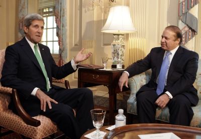 US Secretary of State John F Kerry with Pakistan's Prime Minister Nawaz Sharif in Washington, DC, last October.