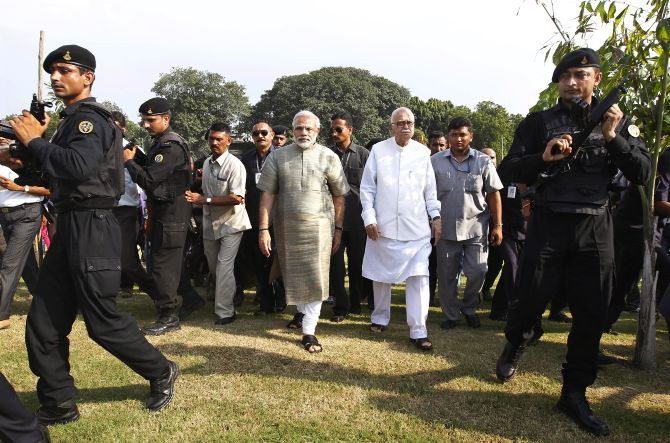 Lal Krishna Advani and Narendra Modi attend the inauguration of a public park in Ahmedabad last week.