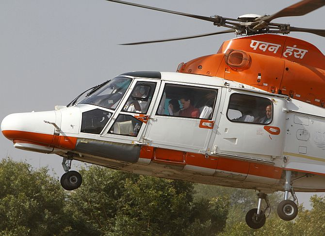File photo of Congress party chief Sonia Gandhi arriving in a Pawan Hans helicopter to attend an election campaign rally