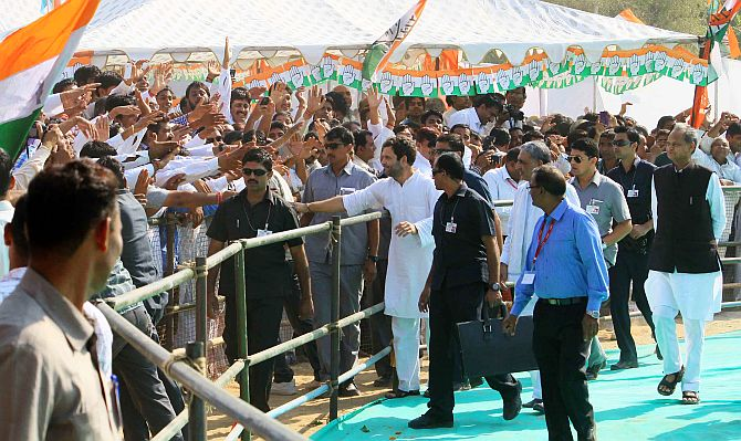 Rahul Gandhi greets his supporters in Churu on Wednesday