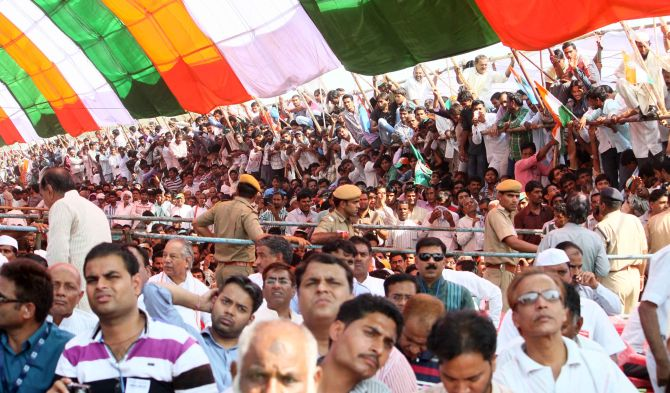 Heavy turnout of Congress supporters turned up for the rally in Churu
