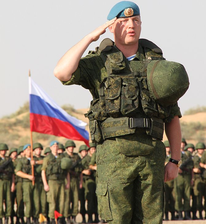 Russian Contingent Commnader Lieutenant Colonel Kalutcky Alexei takes salute at the camp site