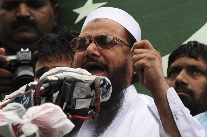 Hafiz Saeed, head of the Jamaat-ud-Dawa organisation and founder of Lashkar-e-Tayiba, address an anti-India rally in Lahore