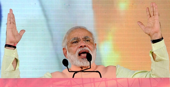 Narendra Modi addresses a rally at Hunkar, Patna