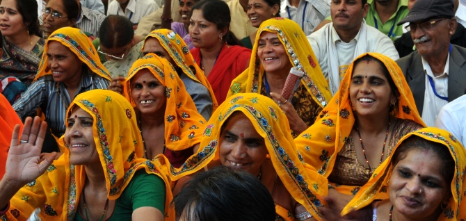 Women at a rally in Rajasthan