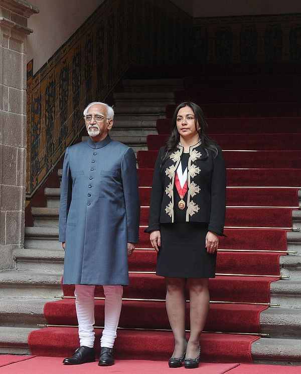 Vice President Hamid Ansari at the ceremonial reception in Lima, Peru
