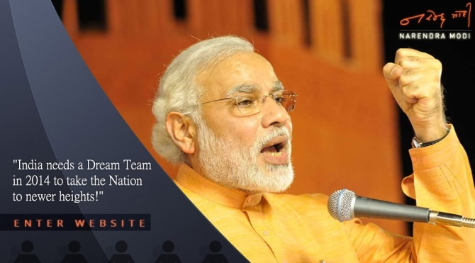 A screenshot of Modi's website