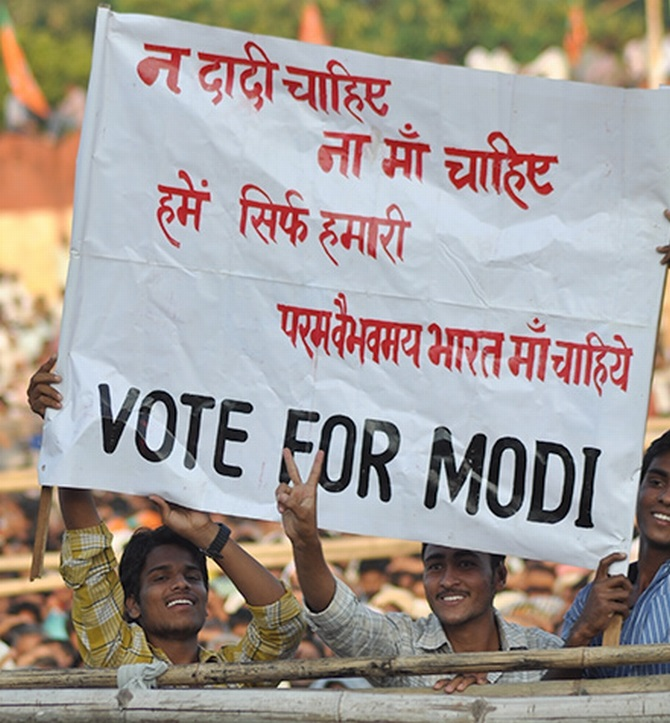 Supporters of Modi at a rally in Udaipur
