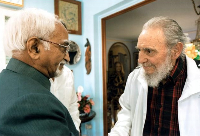 Vice President Hamid Ansari with Cuban leader Fidel Castro