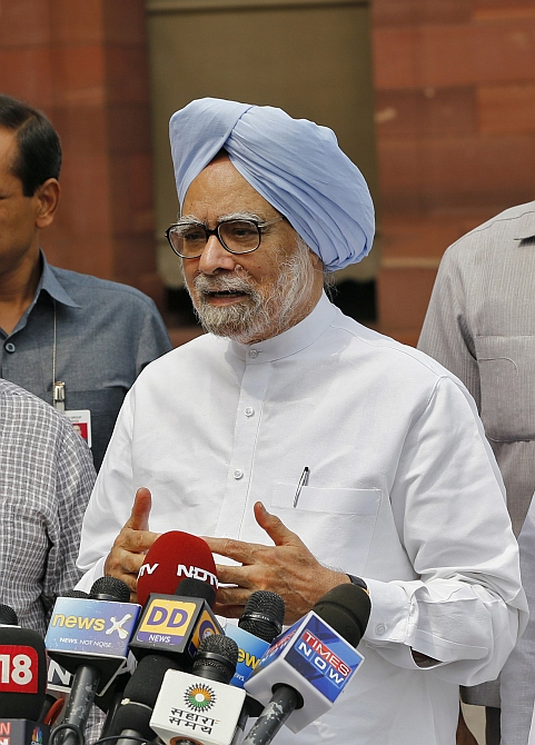 Prime Minister Manmohan Singh speaks to the media in New Delhi