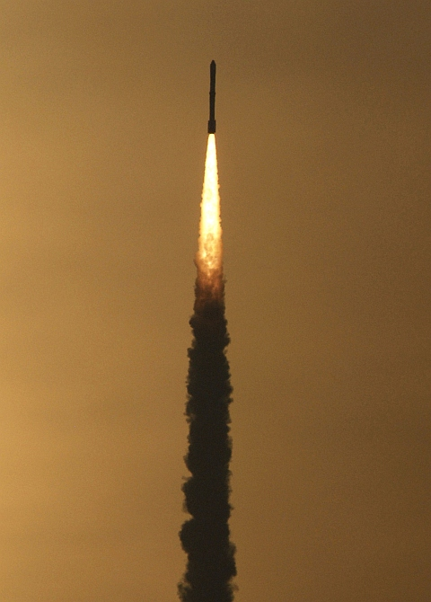 The PSLV C-12 blasts off from Satish Dhawan space centre at Sriharikota